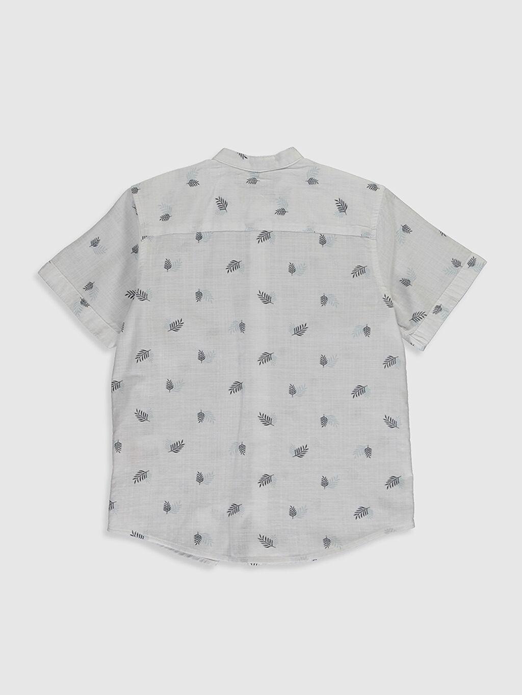 %100 Pamuk İnce Kısa Kol Hakim Yaka Poplin Aksesuarsız Gömlek Standart Baskılı %100 Pamuk Erkek Çocuk Desenli Poplin Gömlek