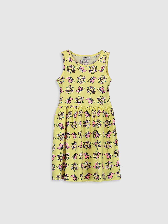 Sarı Kız Çocuk Desenli Pamuklu Elbise 0SJ837Z4 LC Waikiki
