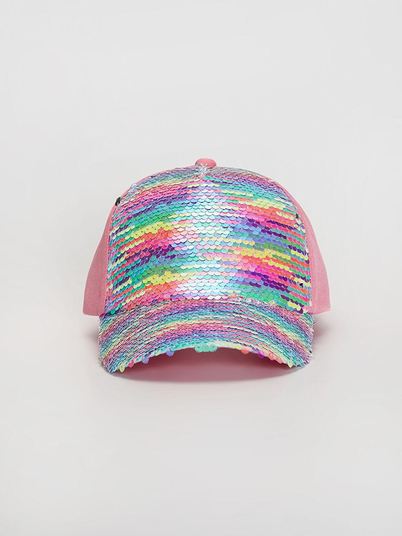 %100 Polyester Astarlı Kep Şapka Kız Çocuk Pul Payetli Şapka