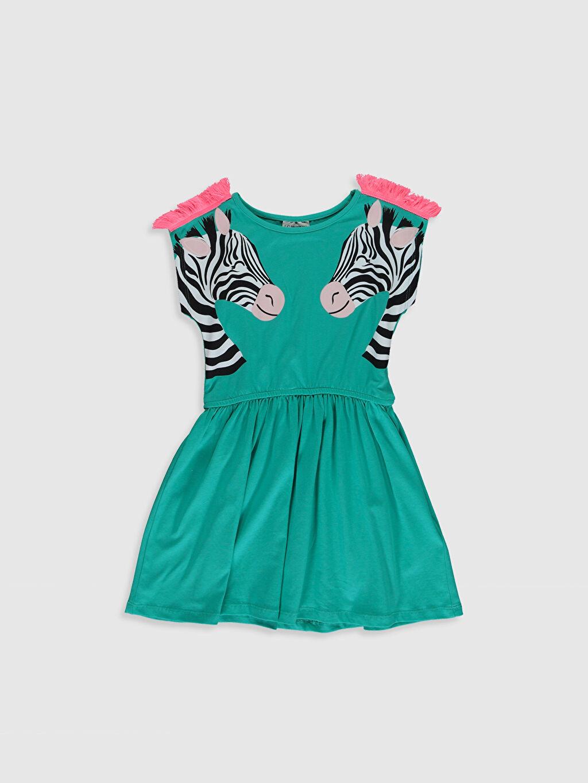 Turkuaz Kız Çocuk Baskılı Pamuklu Elbise 0SN352Z4 LC Waikiki
