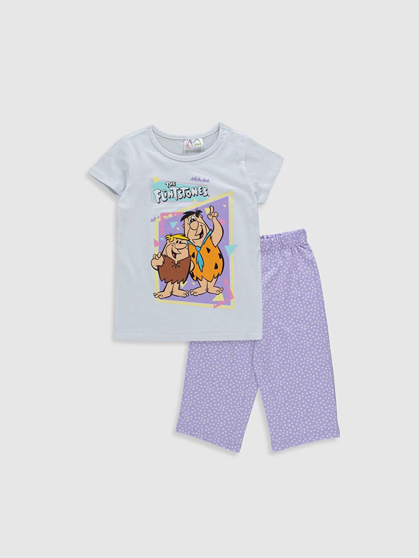 Beyaz Kız Çocuk Taş Devri Baskılı Pamuklu Pijama Takımı 0SC204Z4 LC Waikiki