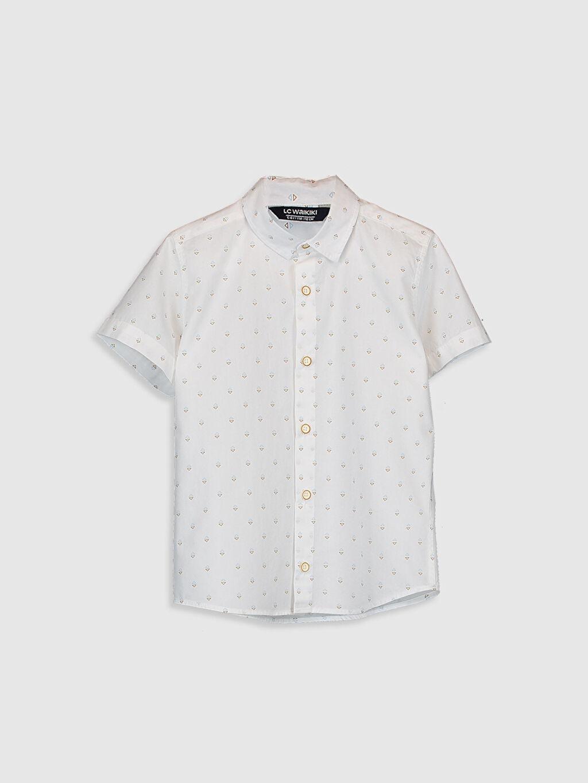 Ekru Erkek Çocuk Desenli Pamuklu Gömlek 0SC511Z4 LC Waikiki