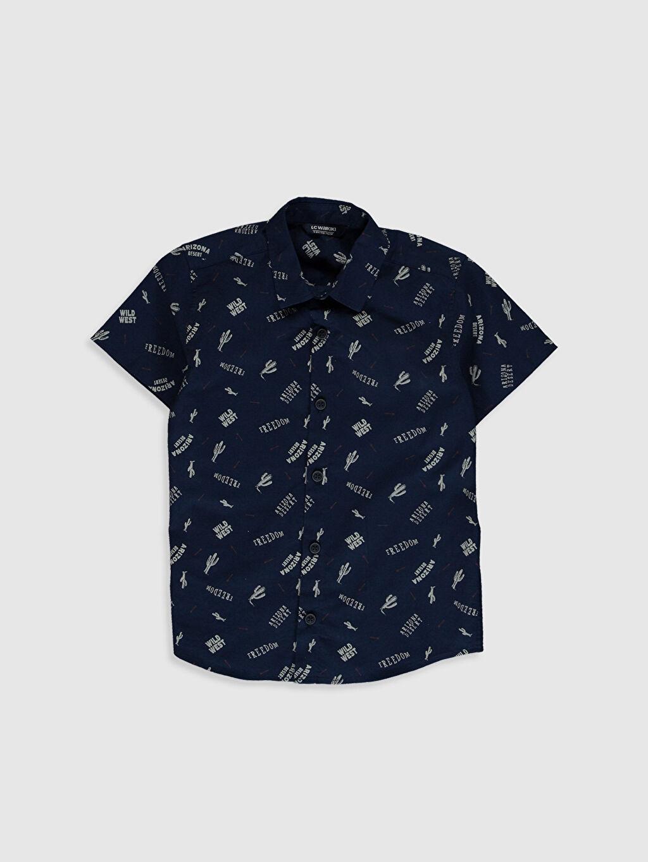 Lacivert Erkek Çocuk Desenli Pamuklu Gömlek 0SC511Z4 LC Waikiki