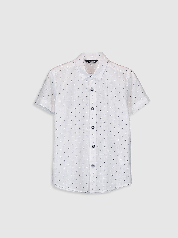 Beyaz Erkek Çocuk Desenli Pamuklu Gömlek 0SC511Z4 LC Waikiki