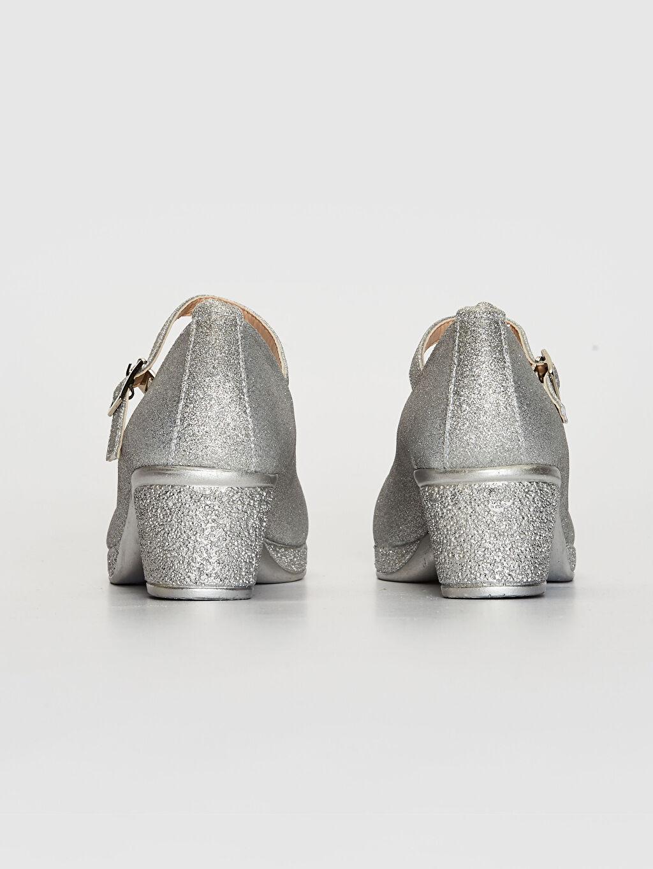 Kız Çocuk Simli Kısa Topuk Babet Ayakkabı