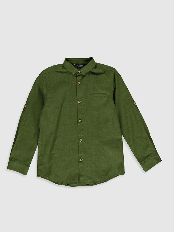 Yeşil Erkek Çocuk Uzun Kollu Pamuklu Gömlek 0SE831Z4 LC Waikiki