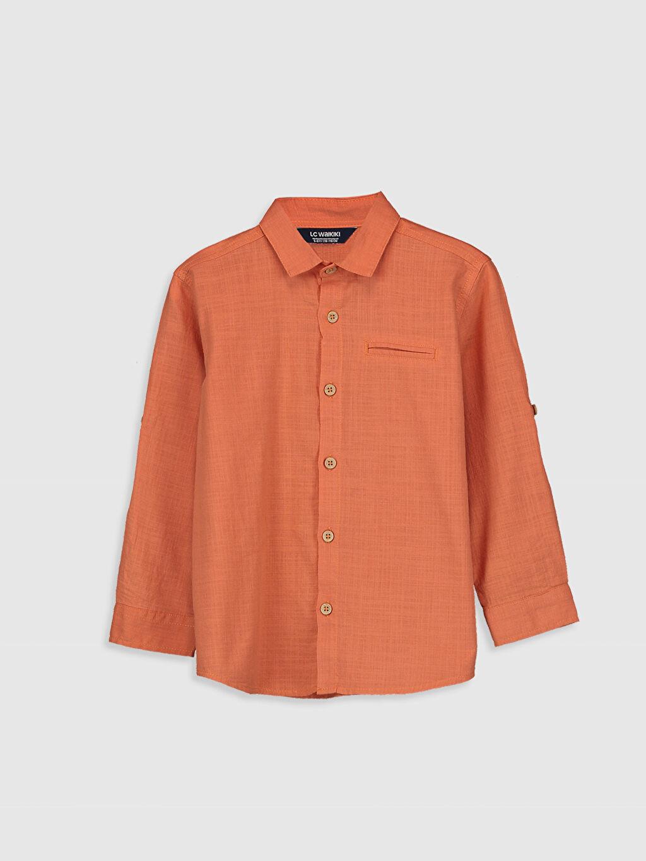 Turuncu Erkek Çocuk Uzun Kollu Pamuklu Gömlek 0SE831Z4 LC Waikiki