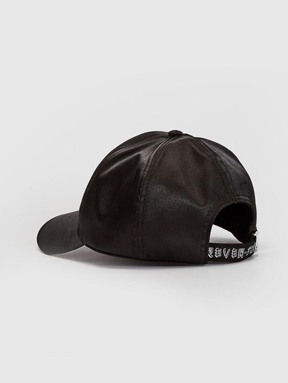 Kız Çocuk Yazı Detaylı Saten Şapka