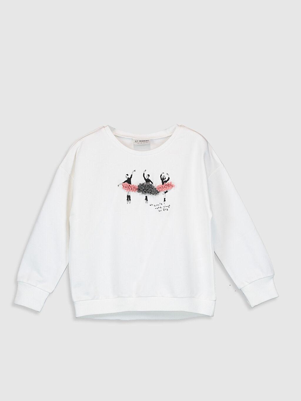 Ekru Kız Çocuk Baskılı Sweatshirt 0SU422Z4 LC Waikiki