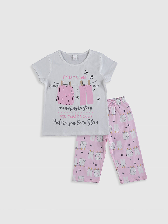 Ekru Kız Çocuk Baskılı Pamuklu Pijama Takımı 0SV010Z4 LC Waikiki