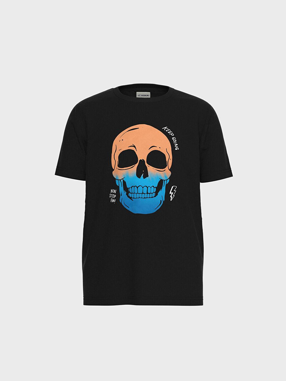 Antrasit Erkek Çocuk Baskılı Pamuklu Tişört 0SV629Z4 LC Waikiki