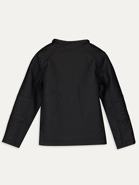 %100 Poliüretan %100 Polyester Uzun Kol Orta Kalınlık Ceket Standart Kapüşonsuz Taffeta Astar Düz Erkek Bebek Deri Görünümlü Ceket