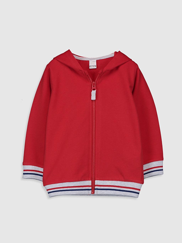 Kırmızı Erkek Bebek Kapüşonlu Fermuarlı Sweatshirt 0S0387Z1 LC Waikiki