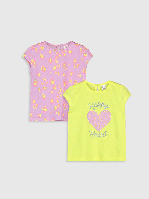 Lila Kız Bebek Desenli Tişört 2'li 0S0528Z1 LC Waikiki