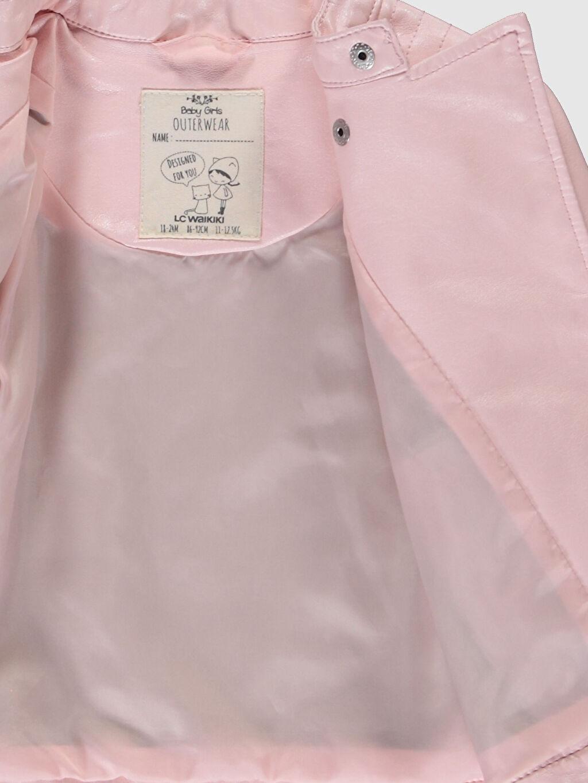 %100 Viskoz Kız Bebek Deri Görünümlü Ceket