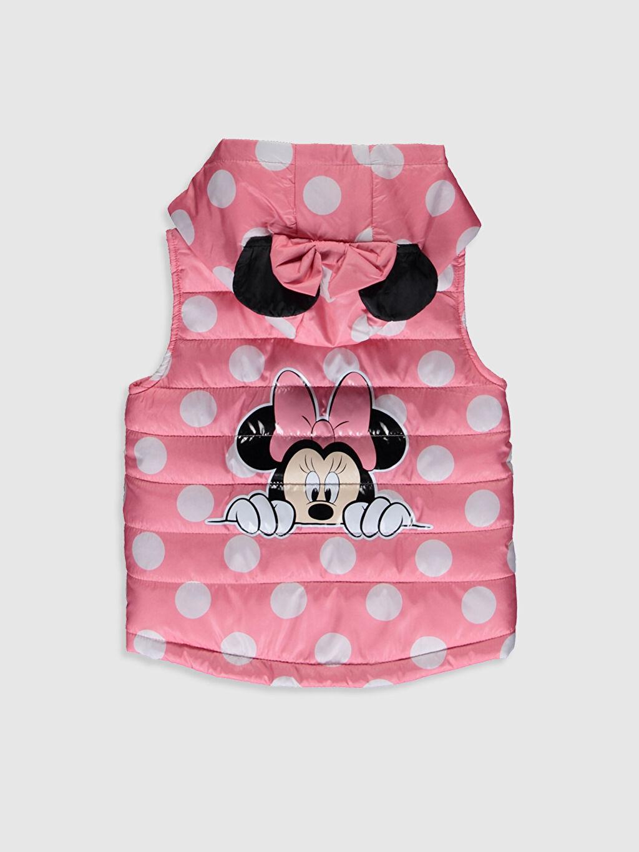 %100 Polyester %100 Pamuk Aksesuarsız Kısa Penye Astar Baskılı Yelek Tafetta Kapüşonlu Kolsuz Orta Kalınlık Kız Bebek Minnie Mouse Baskılı Şişme Yelek