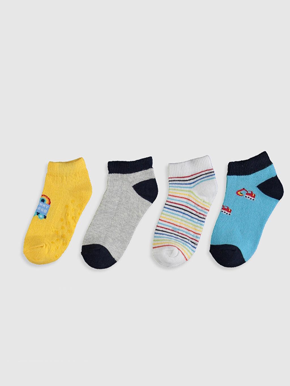 %73 Pamuk %19 Polyester %6 Poliamid %2 Elastan Dikişli Çizgili Günlük Orta Kalınlık Patik Çorap Erkek Bebek Soket Çorap 4'lü