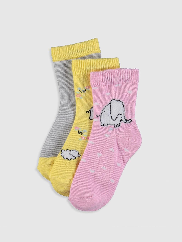 Pembe Kız Bebek Soket Çorap 3'lü 0S1044Z1 LC Waikiki