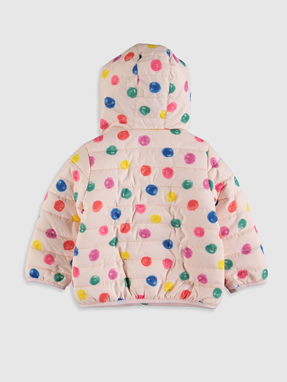 %100 Polyester %100 Polyester Orta Kalınlık Uzun Kol Mont Dokuma Astar Kısa Baskılı Polar Kapüşonlu Kız Bebek Puantiyeli Mont