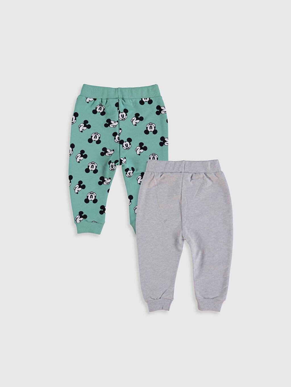 %96 Pamuk %4 Elastan Kalın Pantolon İki İplik Erkek Bebek Mickey Mouse Baskılı Pantolon 2'li