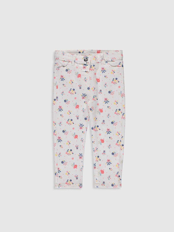 Beyaz Kız Bebek Desenli Gabardin Pantolon 0S2432Z1 LC Waikiki