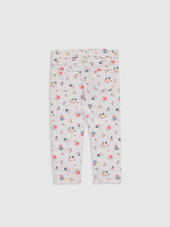 %96 Pamuk %4 Elastan Orta Kalınlık Standart Normal Bel Pantolon Kız Bebek Desenli Gabardin Pantolon