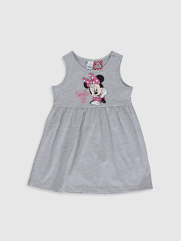 %50 Pamuk %50 Polyester Standart İnce Minnie Mouse Günlük Standart %100 Pamuk Baskılı Bisiklet Yaka Elbise Kolsuz Penye Kız Bebek Minnie Mouse Baskılı Elbise