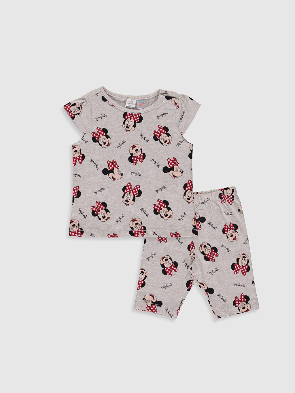 Gri Kız Bebek Minnie Mouse Baskılı Pijama Takımı 0S3305Z1 LC Waikiki