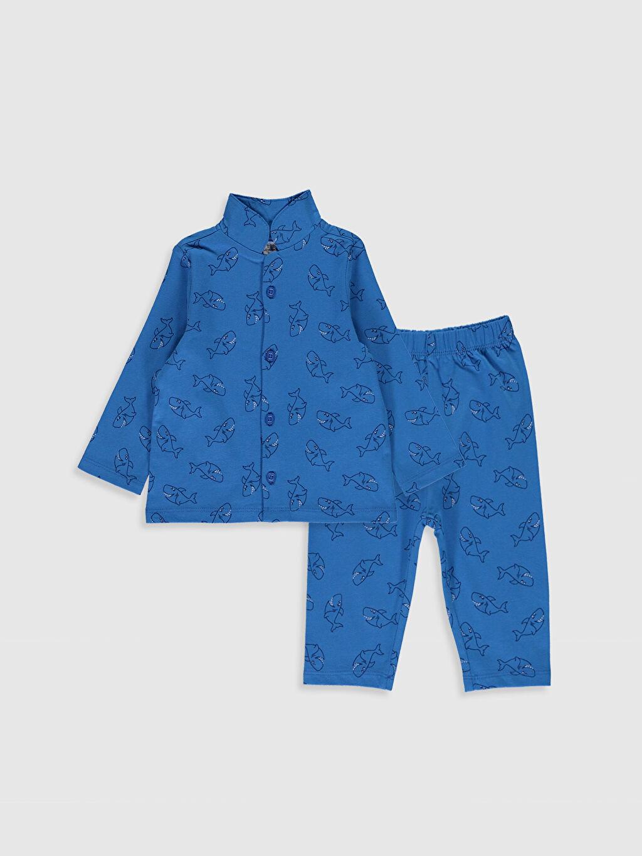 Mavi Erkek Bebek Desenli Pijama Takımı 0S4565Z1 LC Waikiki