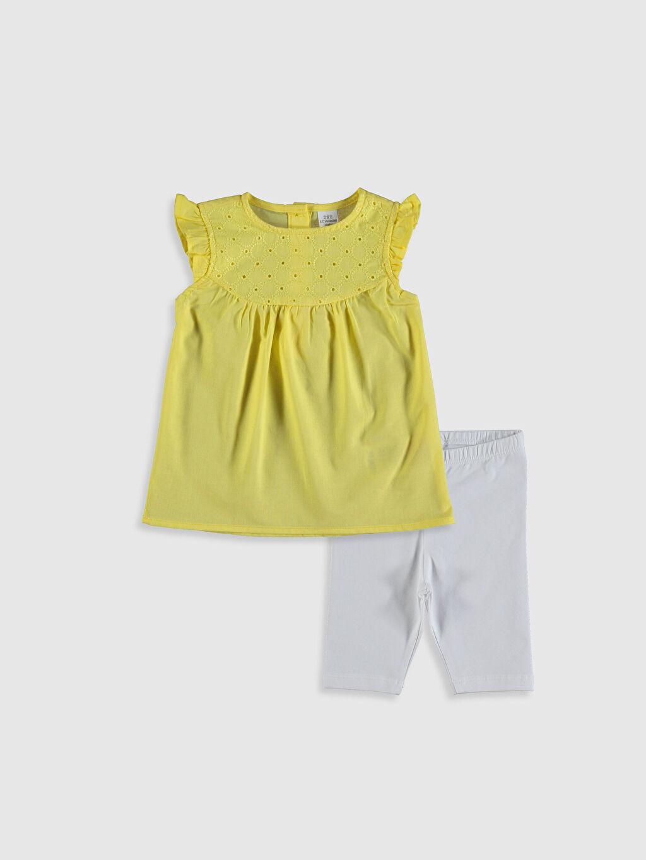Sarı Kız Bebek Tişört ve Tayt 2'li 0S5607Z1 LC Waikiki