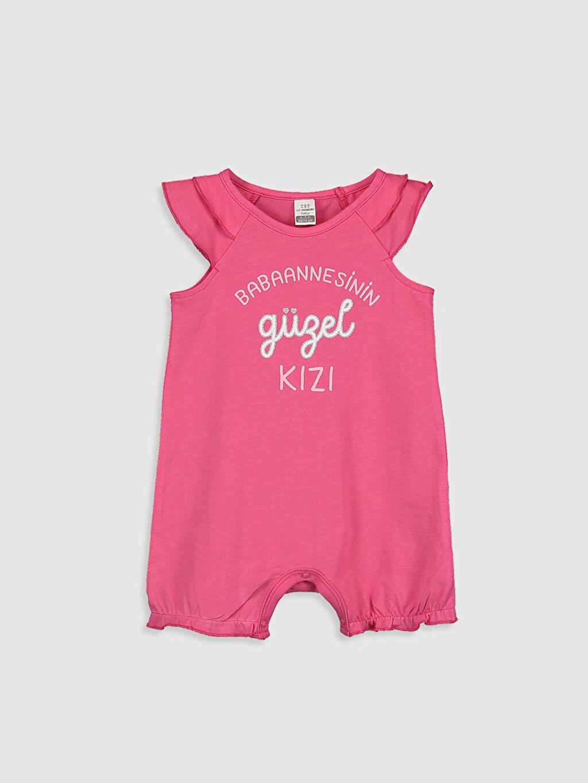 Pembe Kız Bebek Slogan Yazı Baskılı Tulum 0S7626Z1 LC Waikiki