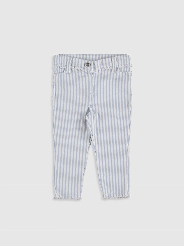 Mavi Kız Bebek Çizgili Pantolon 0S8446Z1 LC Waikiki