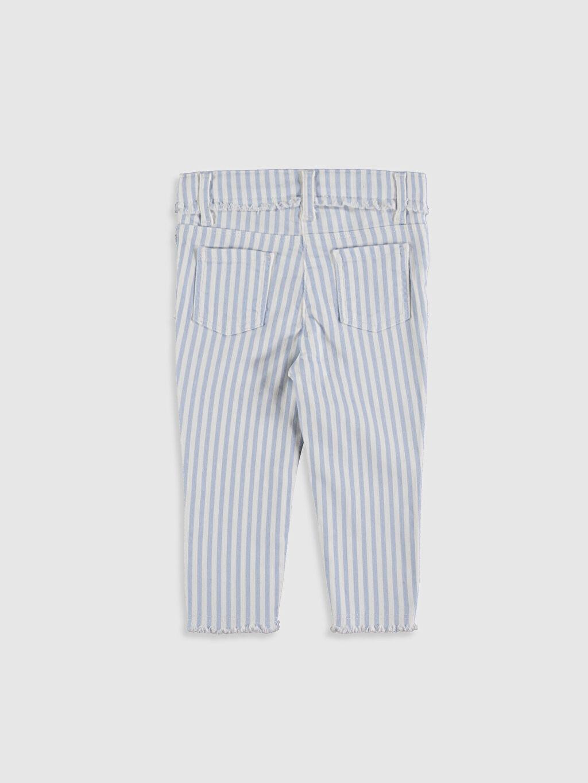 %97 Pamuk %3 Elastan Normal Bel Pantolon Standart Orta Kalınlık Kız Bebek Çizgili Pantolon