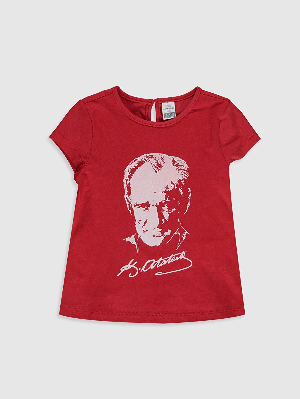 Kırmızı Kız Bebek Atatürk Baskılı ve İmzalı Tişört 0S8506Z1 LC Waikiki