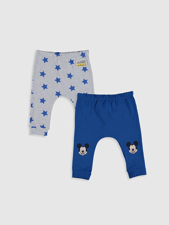 Mavi Yenidoğan Mickey Mouse Baskılı Pantolon 2'li 0S8850Z1 LC Waikiki