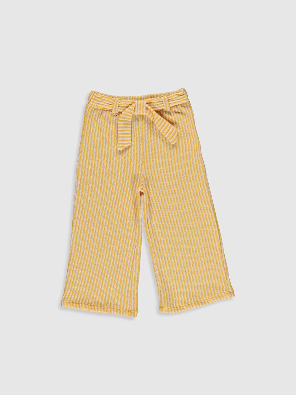 Sarı Kız Bebek Çizgili Pantolon 0SG279Z1 LC Waikiki