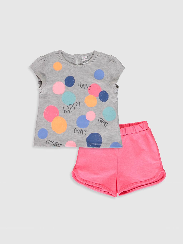 Gri Kız Bebek Tişört ve Şort 0SH542Z1 LC Waikiki