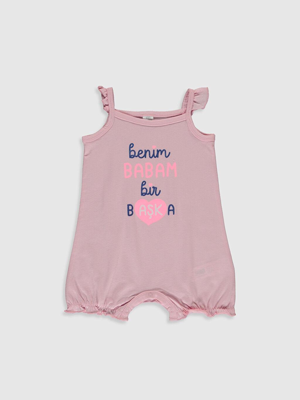 Pembe Kız Bebek Slogan Yazı Baskılı Tulum 0SH605Z1 LC Waikiki