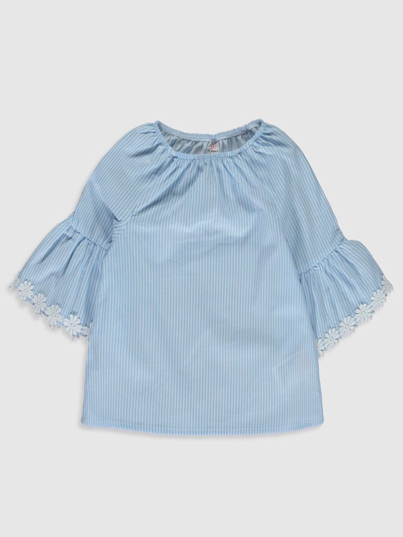 Lacivert Kız Bebek Çizgili Poplin Bluz 0SI740Z1 LC Waikiki