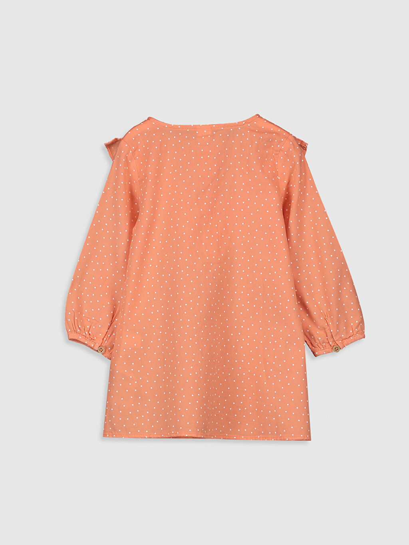%100 Pamuk %100 Pamuk Günlük Elbise Standart Baskılı Orta Kalınlık Uzun Kol Poplin Kız Bebek Puantiyeli Elbise