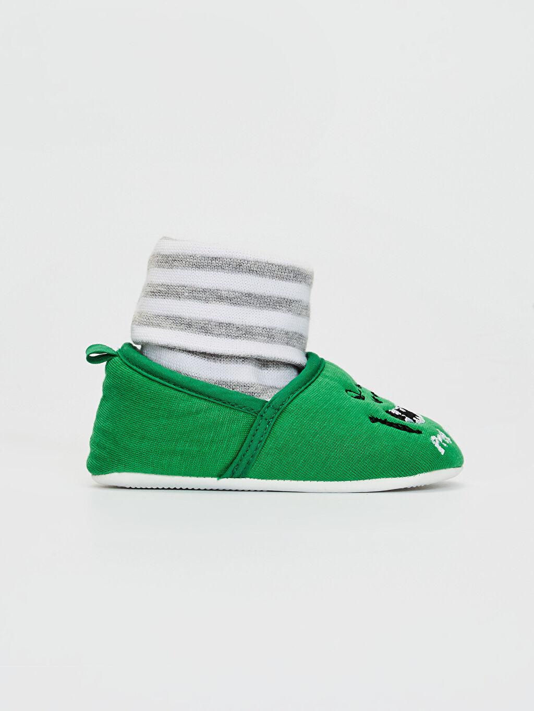 Yeşil Erkek Bebek Yürüme Öncesi Çoraplı Ev Ayakkabısı 0SJ706Z1 LC Waikiki