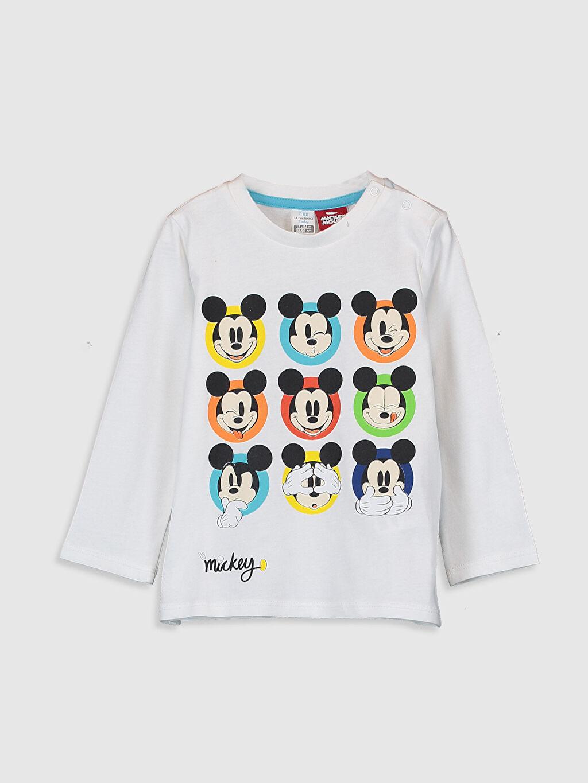 Beyaz Erkek Bebek Mickey Baskılı Tişört 0SN136Z1 LC Waikiki