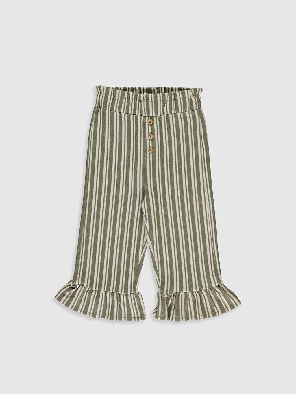 %97 Pamuk %3 Elastan Standart Çizgili Havuç Kesim Pantolon İki İplik Smart Casual Orta Kalınlık Kız Bebek Çizgili Pantolon