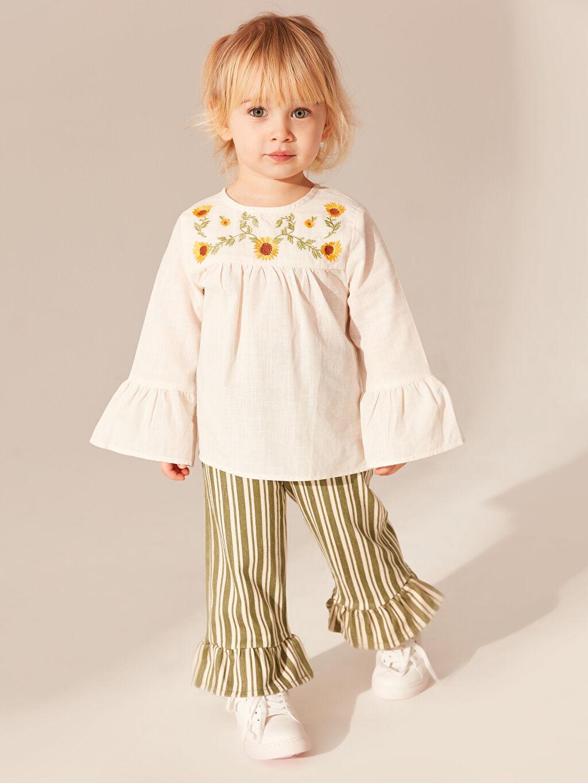 Haki Kız Bebek Çizgili Pantolon 0SN170Z1 LC Waikiki
