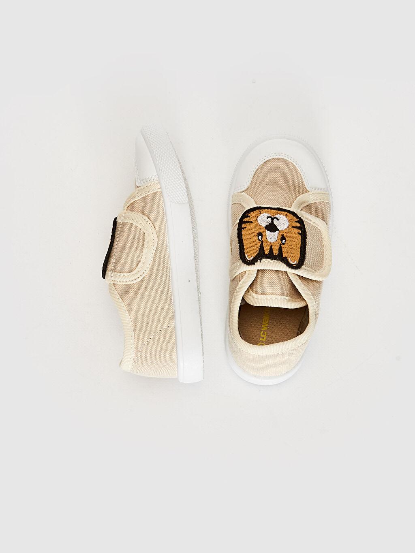 Işıksız Sneaker Cırt Cırt Erkek Bebek Nakış Detaylı Bez Günlük Spor Ayakkabı