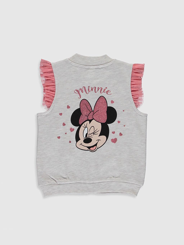 %50 Pamuk %50 Polyester Sweatshirt Standart Minnie Mouse Günlük Üç İplik İçi Tüylü Düz Standart Kız Bebek Minnie Mouse Baskılı Yelek