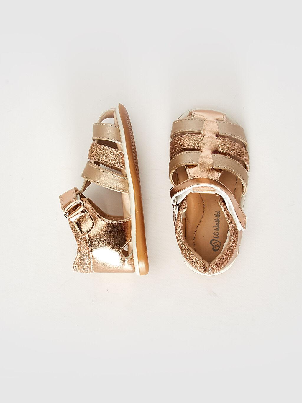 Sandalet Işıksız PU Astar Cırt Cırt Kız Bebek Parlak Görünümlü Cırt Cırtlı Sandalet