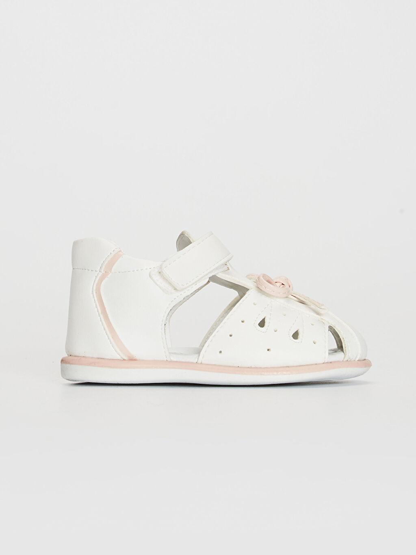 %0 Diğer malzeme (pvc) Sandalet PU Astar Işıksız Cırt Cırt Kız Bebek Fiyonk Detaylı Cırt Cırtlı Sandalet