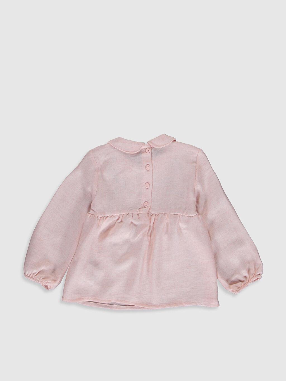 %18 Polyester %82 Viskon Bluz Standart Gabardin Bebe Yaka Standart Baskılı Şık İnce Kız Bebek Nakışlı Bluz