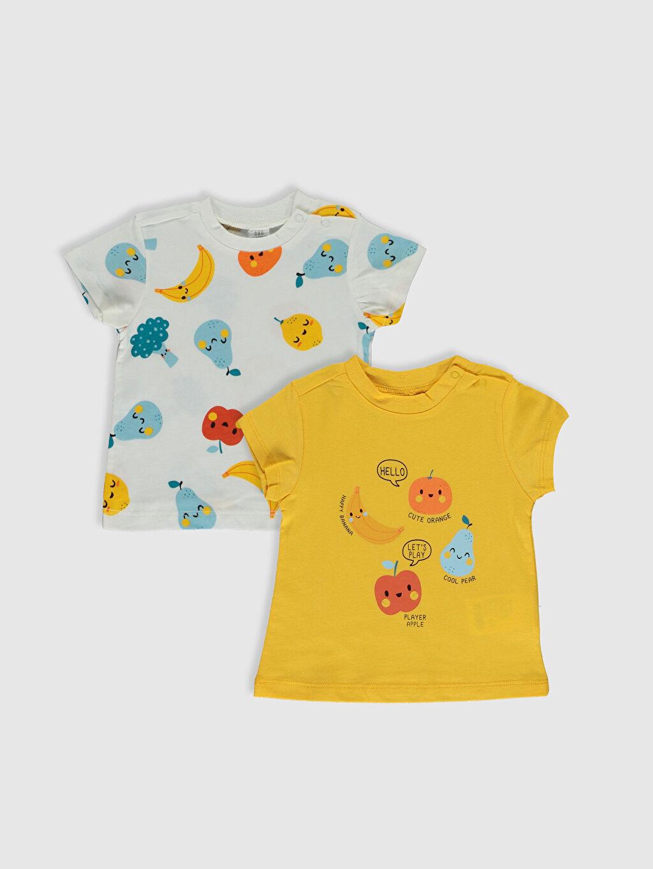 Sarı Erkek Bebek Pamuklu Baskılı Tişört 2'li 0SQ836Z1 LC Waikiki
